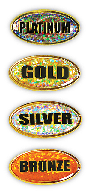 OVA HOL - Oval Titled Holographic Motivation Badges