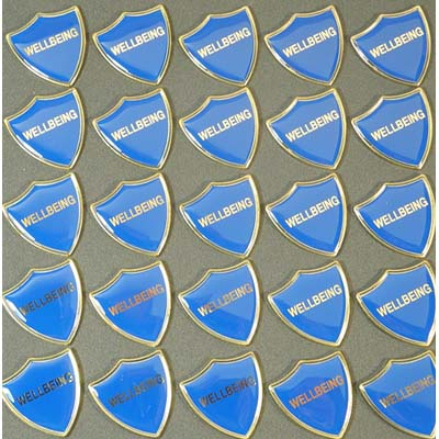 WELLBEING BLUE SHIELD - Clearance Bulk Blue Wellbeing Badges