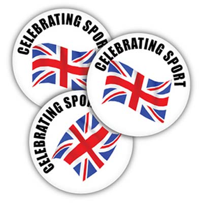 BUT BAD SPO - Celebrating Sport 38mm Metal Button Badge