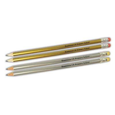 Gold and Silver Pencil with Eraser