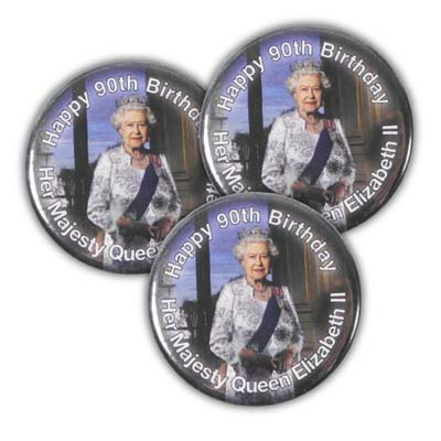 90th Birthday Celebration 38mm Metal Button Badge